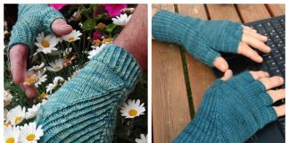 Knit Ribbed Fingerless Gloves/Mitts Free Knitting Pattern