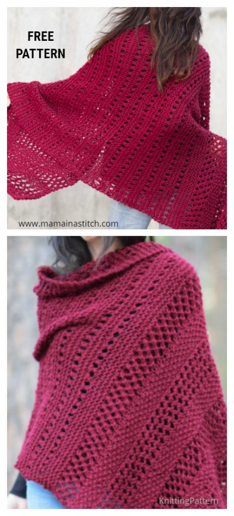 Knit Merlot Alpaca Wrap Shawl Free Knitting Pattern