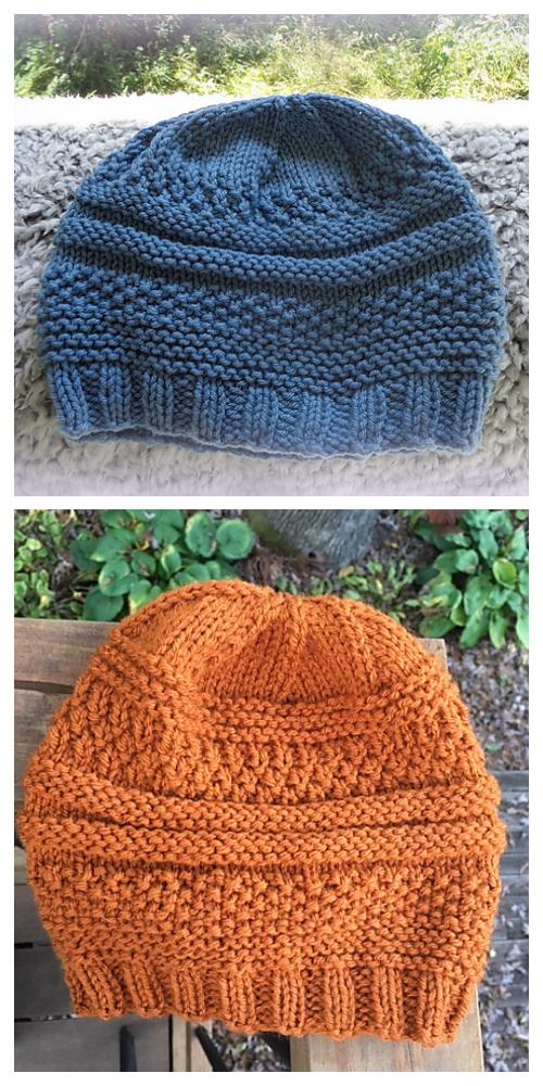 Knit Mix Stitch Hat Knitting Patterns