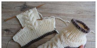 Knit Women Cable Slipper Boots Free Knitting Pattern +Video