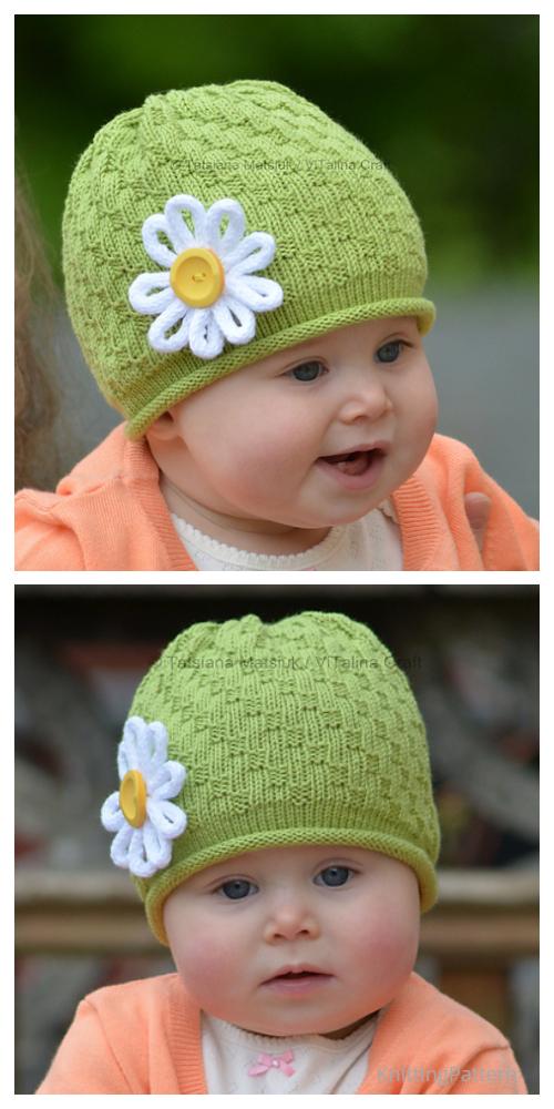 Daisy Flower Beanie Hat Free Knitting Patterns