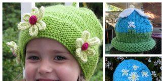 Knit Daisy Flower Beanie Hat Free Knitting Patterns