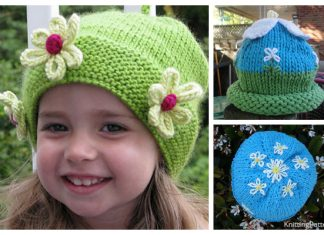 Knit Daisy Flower Beanie Hat Free Knitting Patterns