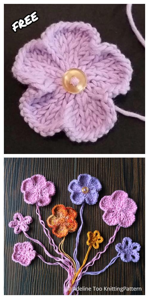 Knit Basic 5-Petal Flower Free Knitting Patterns