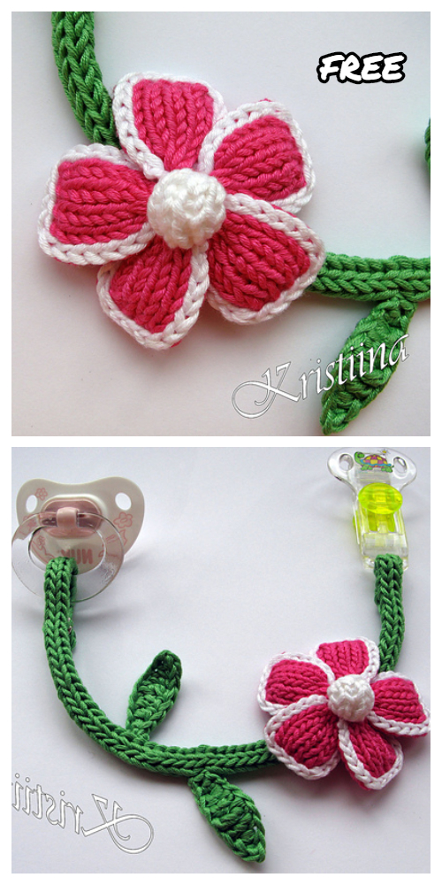 Knit Pacifier Clip Flower Free Knitting Patterns