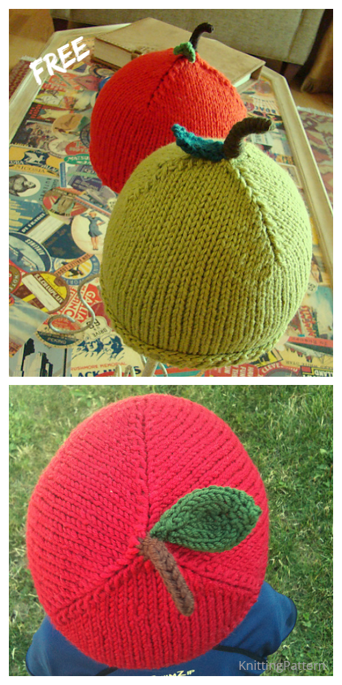 Knit Apple Hat Free Knitting Patterns