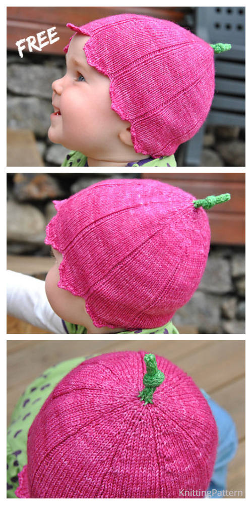 Knit Rosa villosa Bell Flower Baby Hat Free Knitting Patterns