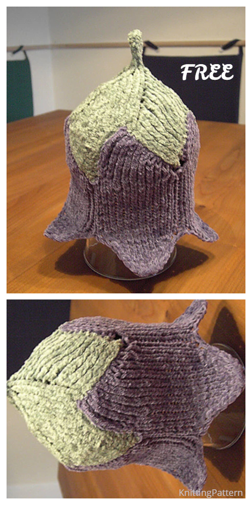Knit Bluebell Flower Baby Hat Free Knitting Patterns