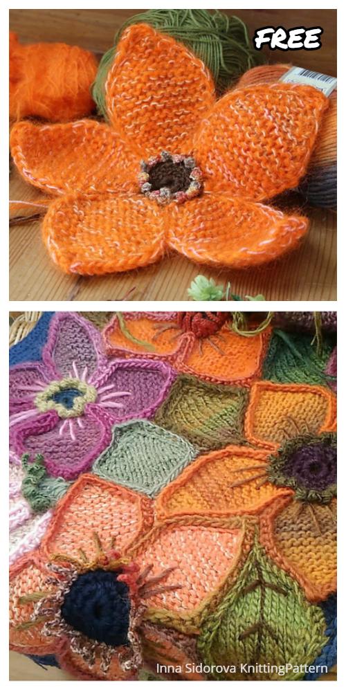 Knit Big Flower Free Knitting Pattern