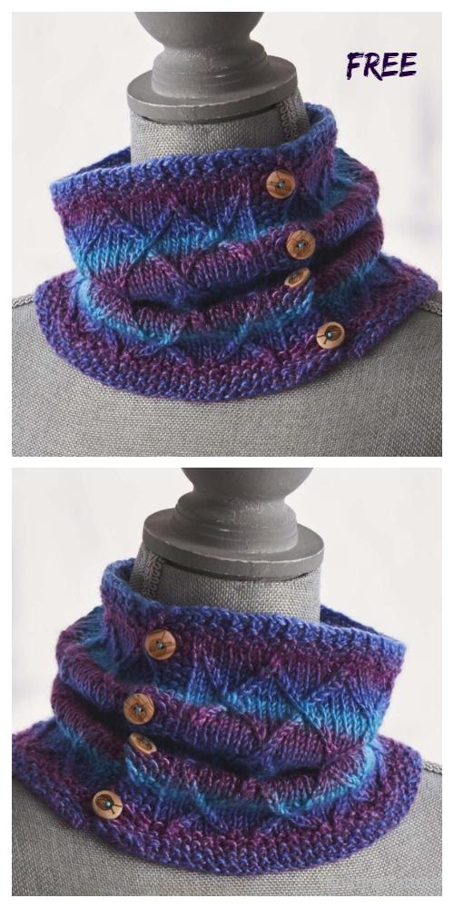 Knit Twists & Turns Buttoned Cowl Free Knitting Patterns