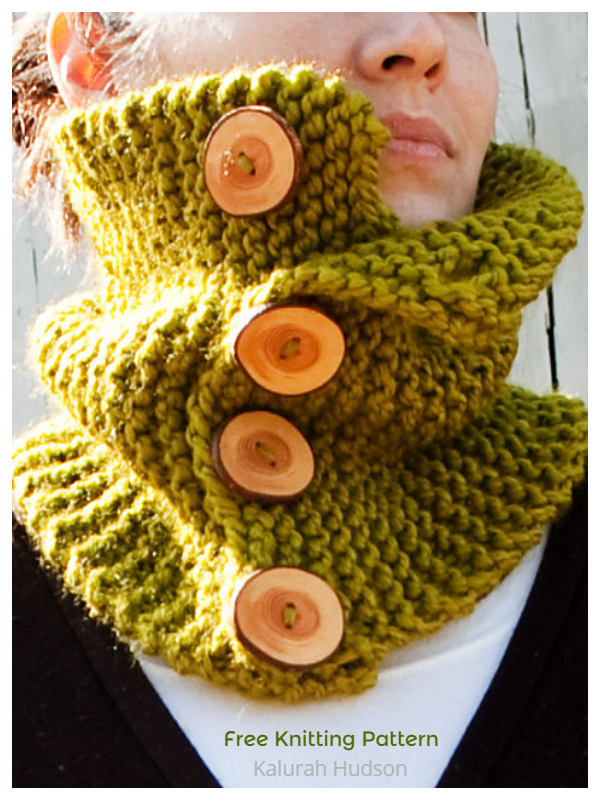 Woodland Buttoned Cowl Free Knitting Patterns