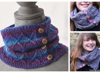 Knit Buttoned Cowl Free Knitting Patterns