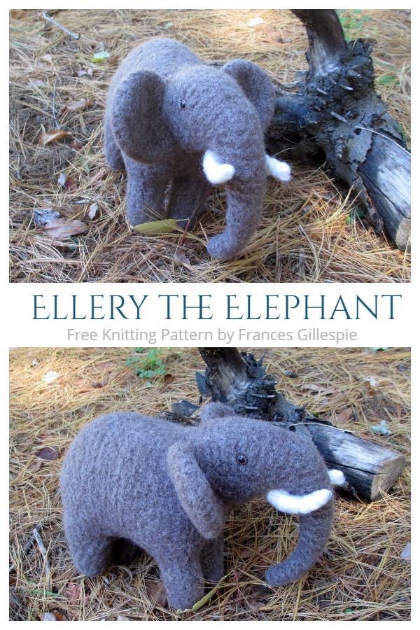 Knit Ellery the Elephant Toy Free Knitting Patterns