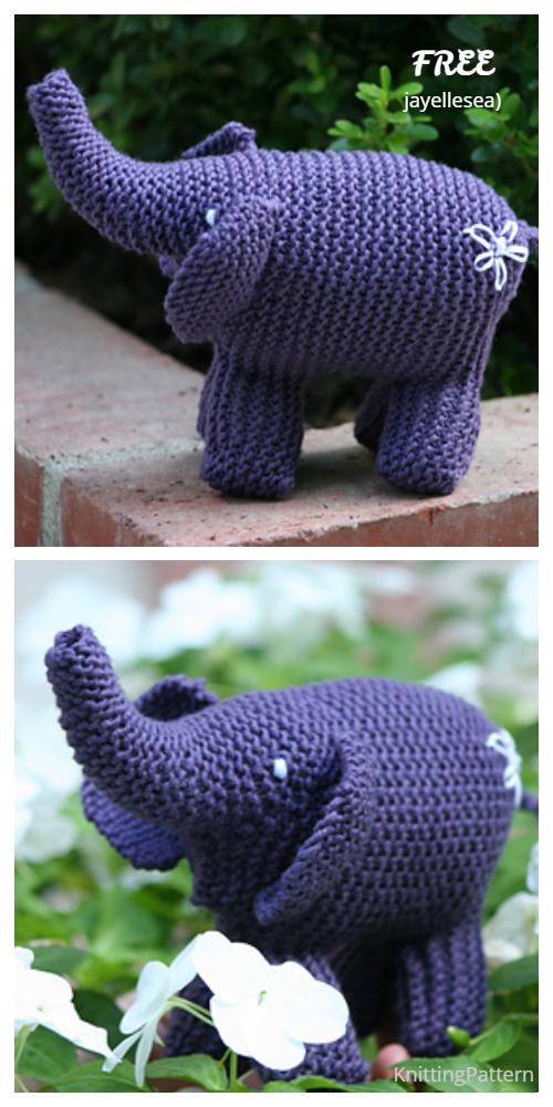 Knit Garter Stitch Elephant Toy Free Knitting Patterns