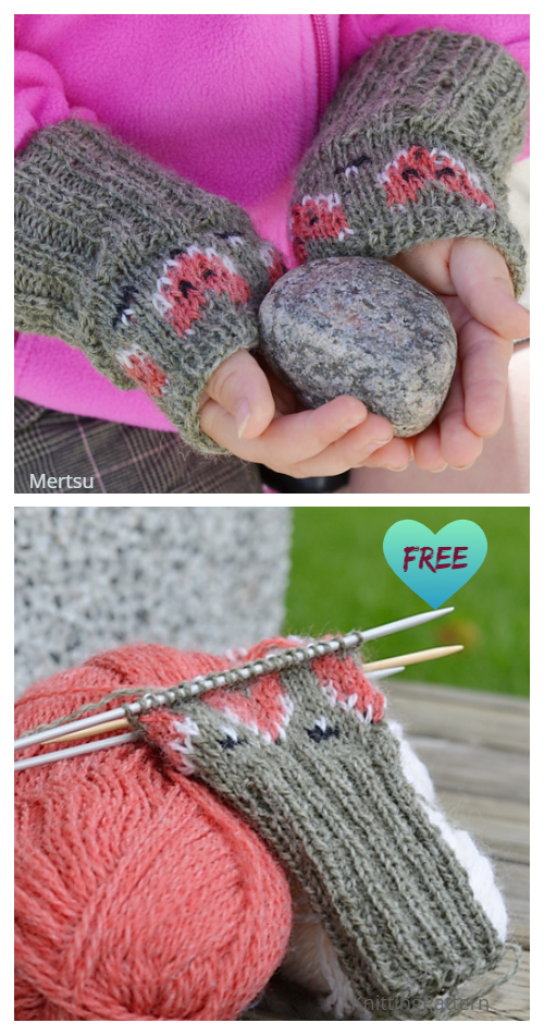 Knit Kids Foxy Mittlets Free Knitting Patterns