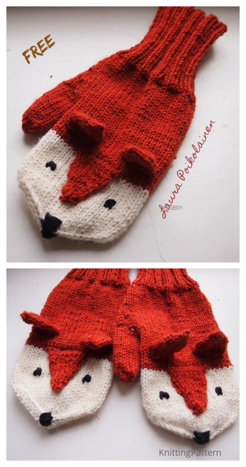 Knit Fox Mittens Free Knitting Patterns