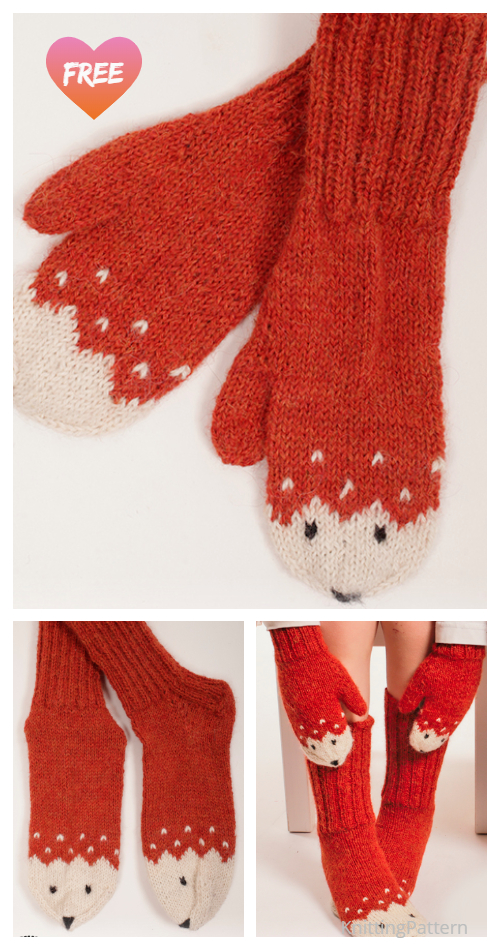 Knit Miss Fox Mittens Free Knitting Patterns