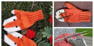 Knit Fox Mitts Free Knitting Patterns