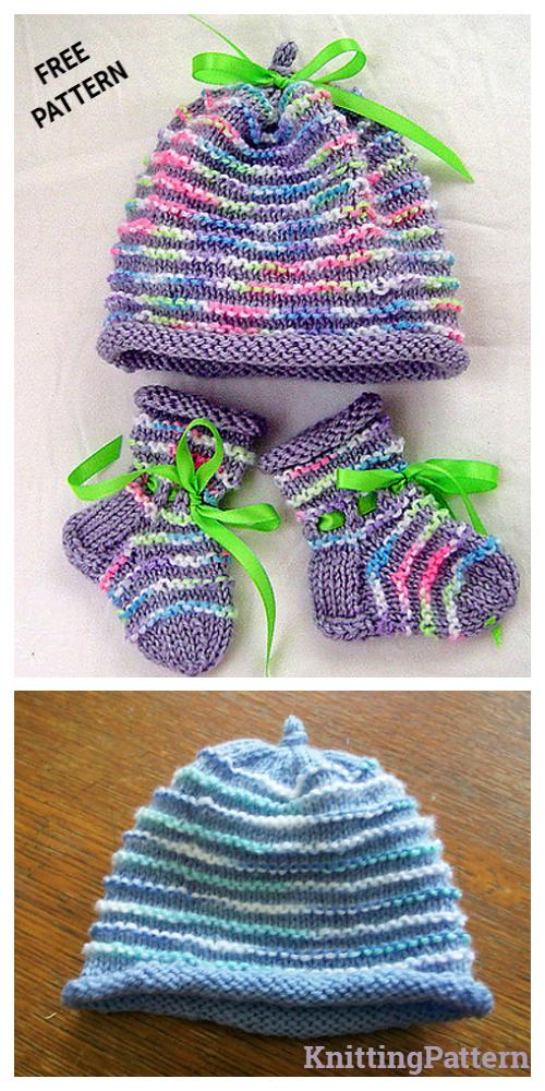 Knit Garter Ridged Baby Set Free Knitting Pattern