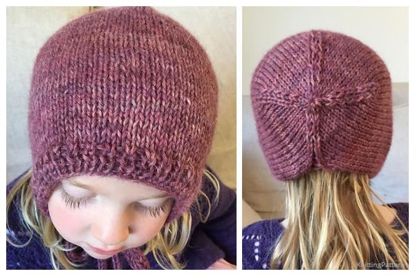 Girls Bonnet Hat Knitting Pattern