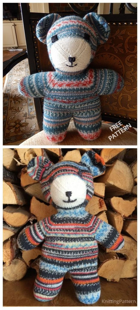 Knit Colorful Teddy Bear Free Knitting Pattern