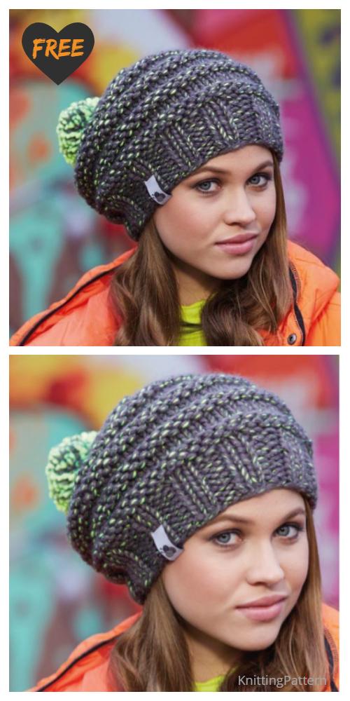 Knit Neon Mix Hat Free Knitting Patterns