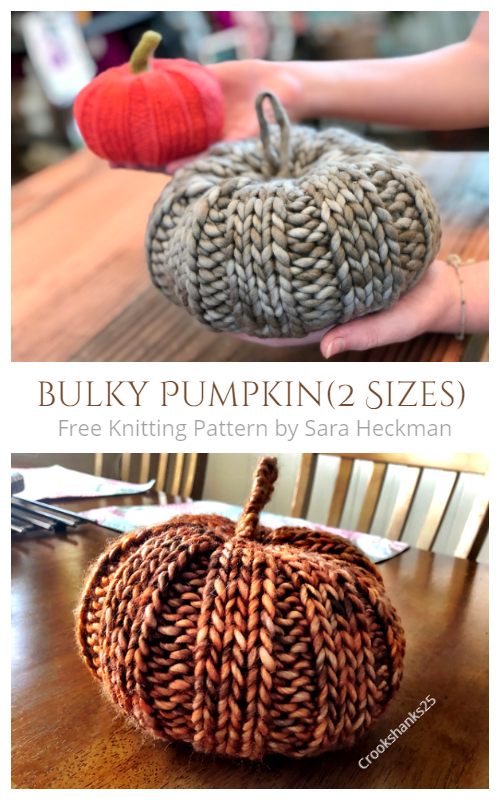 Chunky Pumpkin Free knitting Patterns in 2 Sizes