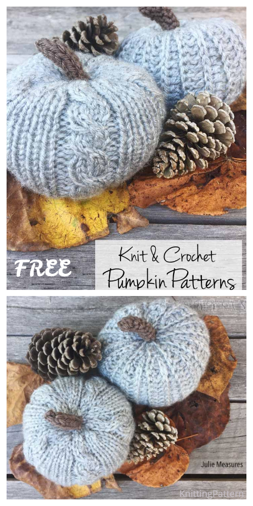 Knit Cabled Pumpkins Free Knitting Patterns