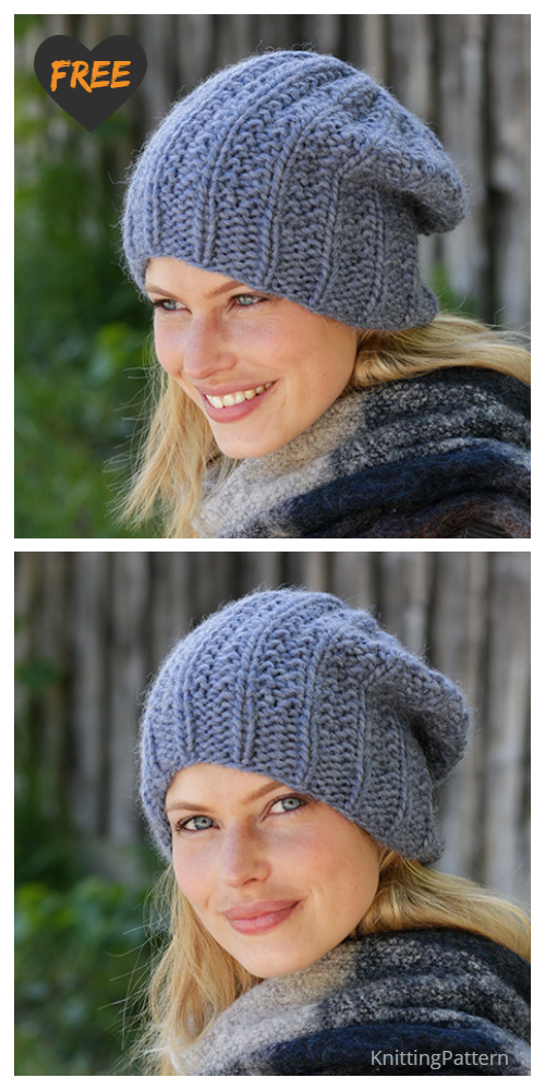 Knit Striped City Beat Hat Free Knitting Pattern