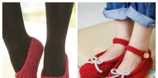 Christmas Knit Ballerina Slippers Free Knitting Patterns