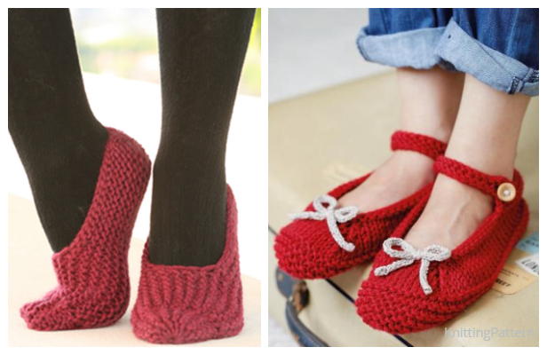 Christmas Knit Ballerina Slippers Free Knitting Patterns