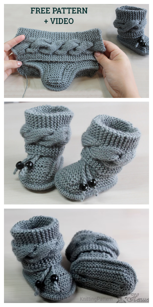 Knit Cable Baby Booties Free Knitting Pattern + Video