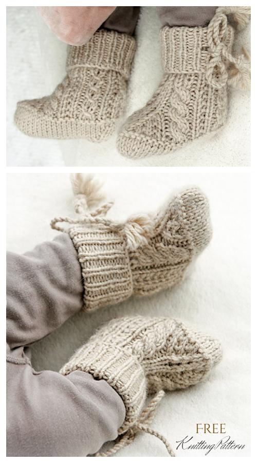 Knit Aiden Socks Baby Booties Free Knitting Pattern