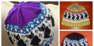 Knit Fairisle Black Cats Beanie Free Knitting Pattern