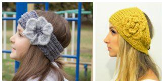 Knit Flower Headband Free Knitting Patterns + Video