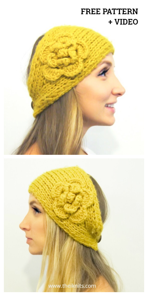 Knit Flower Headband Free Knitting Patterns + Video