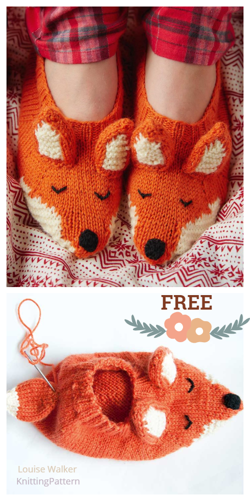 Knit Adult Fox Slippers Free Knitting Patterns