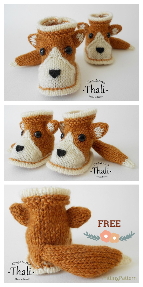 Knit Baby Fox Booties Slippers Free Knitting Patterns