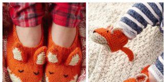 Knit Fox Slippers Free Knitting Patterns