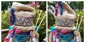 Knit Gnome Lady Jar Cover Free Knitting Pattern