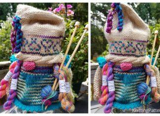Knit Gnome Lady Jar Cover Free Knitting Pattern