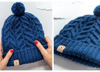 Knit Unisex Cable Beanie Hat Free Knitting Pattern