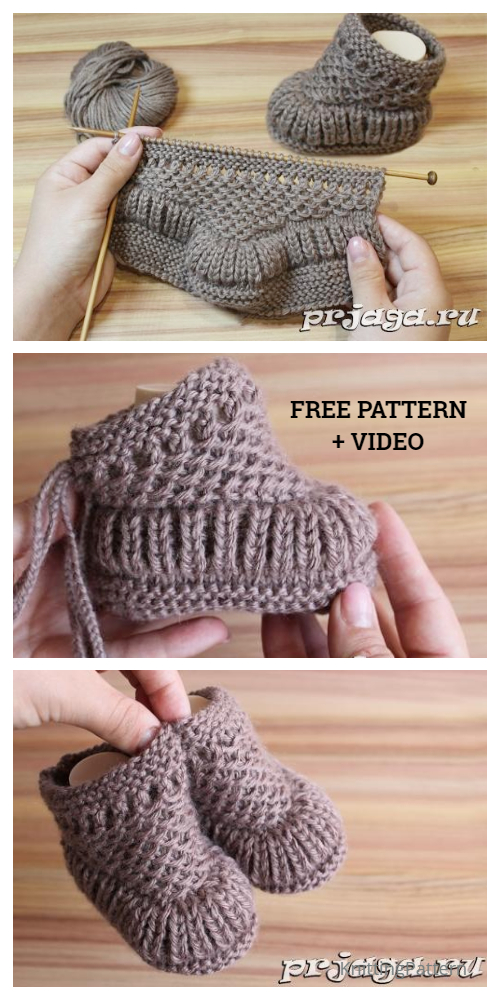 Knit Warm Baby Booties Free Knitting Pattern + Video