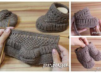 Knit Warm Baby Booties Free Knitting Pattern + Video