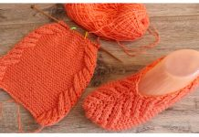 One-Piece Knit Lace Slippers Free Knitting Pattern + Video