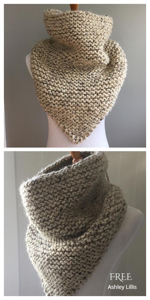 Quick Knit Garter Stitch Bandana Triangle Cowl Free Knitting Patterns