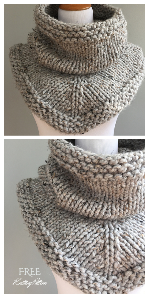 Quick Knit Stockinette Bandana Triangle Cowl Free Knitting Patterns