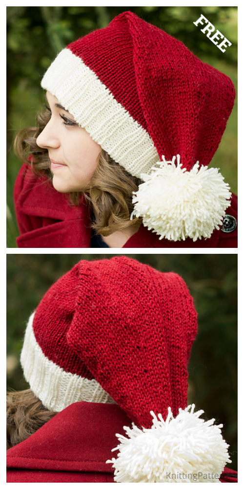 Knit Christmas Santa Hat Free Knitting Patterns - Knitting ...