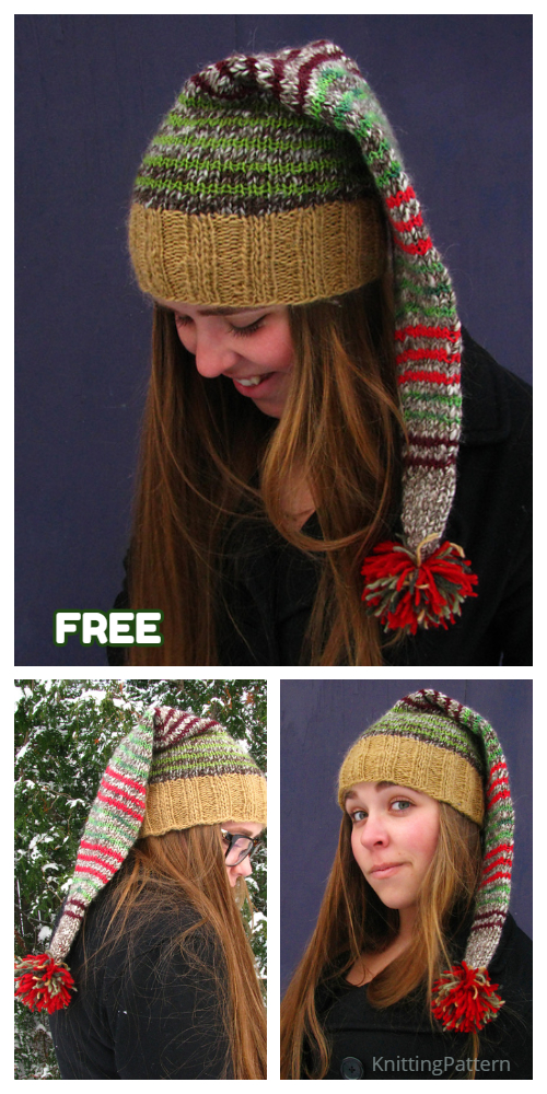 Knit Christmas Scrappy Santa Hat Free Knitting Patterns