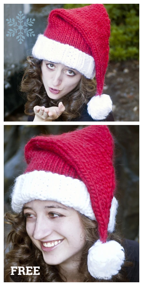 Knit Magnum Christmas Santa Hat Free Knitting Patterns
